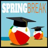 Spring break design with beach ball and graduation cap - 232021736