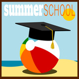 Summer school design with beach ball and grduation cap - 232021740