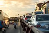 The traffic jam on road upto overbridge at rush hour - 232022713