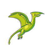 Flying dinosaur cartoon color character © levinanas