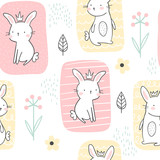 Seamless pattern of cute white bunnies