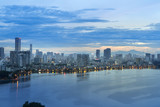 Aerial view of Hanoi skyline at West Lake or Ho Tay. Hanoi cityscape at twilight - 232025960