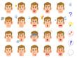 若い男性の20種類の表情 白人 茶髪