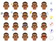 メガネをかけた黒人の男性の20種類の表情