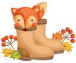 a vector of a cute fox inside a boots