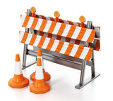 Road block with traffic cones isolated on white background. 3D illustration - 232039193