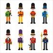 Guard character of various uniforms. flat design style vector graphic illustration.