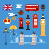 Various objects and icons that symbolize England. flat design style vector graphic illustration.