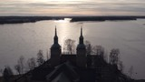 Stunning cinematic aerial shot passing over a church in Sastamala, Finland - 232045955