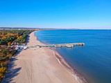 Baltic Sea pier in Gdansk Brzezno at autumn, Poland - 232052734