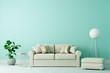 Leinwanddruck Bild - Sofa in Altbau Wohnzimmer mit freier grüner Wand
