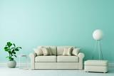 Sofa in Altbau Wohnzimmer mit freier grüner Wand - 232058548