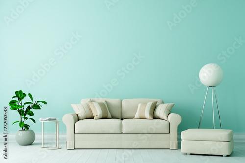 Leinwanddruck Bild Sofa in Altbau Wohnzimmer mit freier grüner Wand