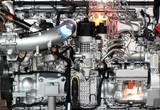 heavy truck diesel engine close up - 232058767