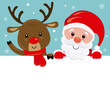 Christmas card. Santa Claus and reindeer poster
