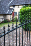 Iron fence at historic country house. - 232063132