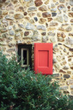 Small window with wooden shutter in countryside. - 232063134