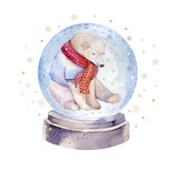 Watercolor holiday illustration of a cute polar bear , winter print, children's illustration, portrait of a bear, isolated new year on a white background, animal polar bear in a red scarf - 232063322