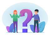 Confused man and woman standing near big question mark. Help, customer support. Seek for solution. Flat design vector illustration - 232064700