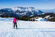 Leinwandbild Motiv Skifahrerin vor der Abfahrt