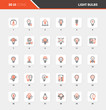 Light bulbs Flat Line Web Icon Concepts