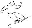 Black Snowboarder Flat Icon on White Background