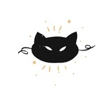 Hand drawn vector abstract fun Merry Christmas time cartoon doodle rustic festive illustration icon with cute holiday black cat mask isolated on white background - 232071956