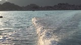 Sea surface of the water, view from a moving boat. The boat sails on the Mediterranean Sea. Waves close up - 232071958