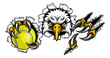 An eagle bird tennis sports mascot cartoon character ripping through the background holding a ball