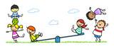 Gruppe Kinder beim Spielen auf Spielplatz mit Wippe - 232078936