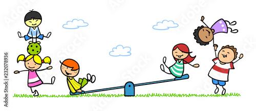 Leinwanddruck Bild Gruppe Kinder beim Spielen auf Spielplatz mit Wippe