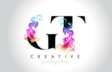 GT Vibrant Creative Leter Logo Design with Colorful Smoke Ink Flowing Vector