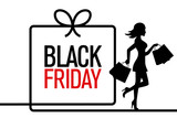 Black Friday. woman silhouette shopping with black friday poster - 232081399