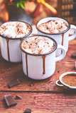 Hot chocolate with marshmallow candies on wooden background. - 232082359