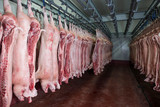 Raw meat in cold storage. Food industry. Distribution center.