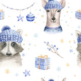 Set of Christmas Woodland Cute forest cartoon deer and cute raccoon animal character. Winter set of new year floral elements, bouquets, berries, fllowers, snow and snowflakes, lettering - 232084989