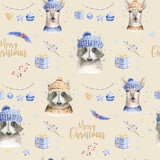 Set of Christmas Woodland Cute forest cartoon deer and cute raccoon animal character. Winter set of new year floral elements, bouquets, berries, fllowers, snow and snowflakes, lettering - 232085372