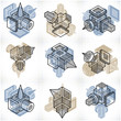 Abstract vectors set, isometric dimensional shapes collection. - 232085511