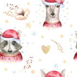 Set of Christmas Woodland Cute forest cartoon deer and cute raccoon animal character. Winter set of new year floral elements, bouquets, berries, fllowers, snow and snowflakes, lettering - 232085940