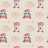 Set of Christmas Woodland Cute forest cartoon deer and cute raccoon animal character. Winter set of new year floral elements, bouquets, berries, fllowers, snow and snowflakes, lettering - 232086519