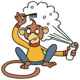 Affe probiert sich als Friseur mit Haarspray und Kamm - 232089101