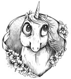 Schwarz Weiß Einhorn Portrait Zeichnung im Tattoo Stil - 232089158