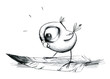 Leinwanddruck Bild - Erstaunter Wellensittich steht auf großer Vogelfeder