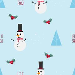 Christmas seamless pattern with snowman on blue background © belekekin