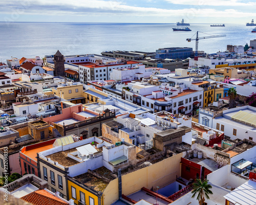 Poster Las-Palmas de Gran Canaria, Spain, on January 10, 2018. A beautiful view of the city from the survey platform of a cathedral