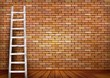 White ladder against and old a red brick wall with space for text. Vector illustration.