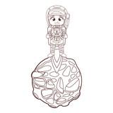 Astronaut boy cartoon in black and white - 232105185