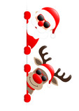 Santa & Rudolph Sunglasses On Top Of Each Other Red Star Banner