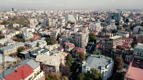 Old centre of Bucharest seen from a tall building