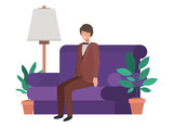 young man in the livingroom avatar character - 232113749